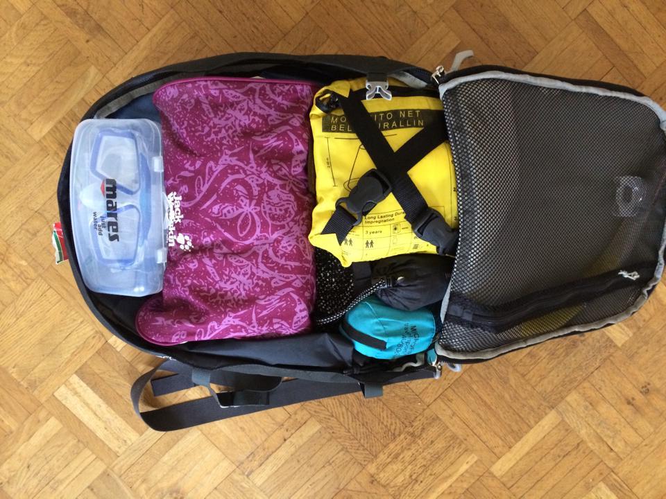 Handgepäcks-Rucksack mit allem drin